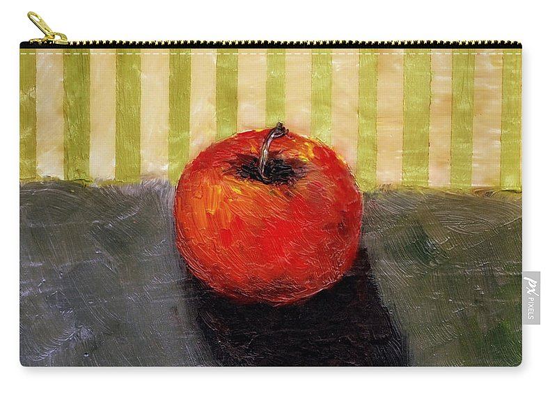Apple Carry-all Pouch featuring the painting Apple Still Life with Grey and Olive by Michelle Calkins