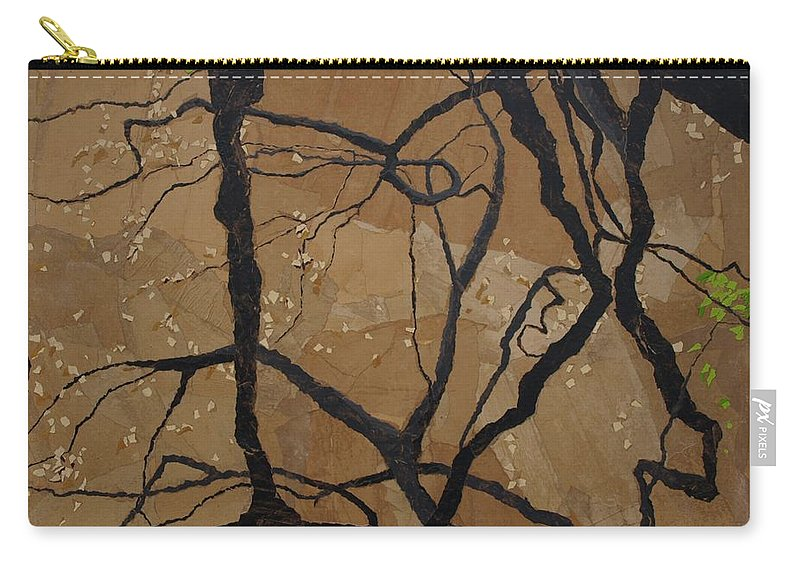 Abstract Tree Branches Carry-all Pouch featuring the painting Arboretum Dancers by Leah Tomaino