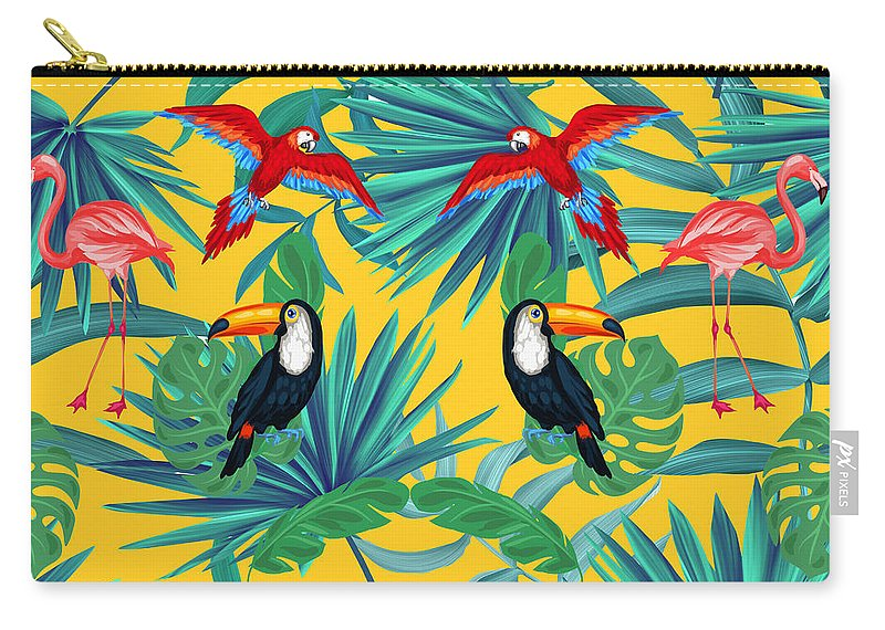 Parrot Carry-all Pouch featuring the digital art Yellow Tropic by Mark Ashkenazi