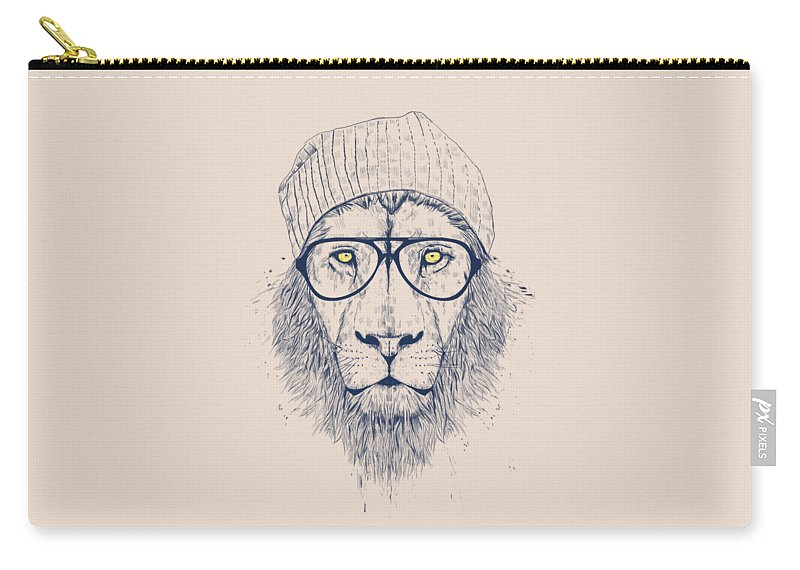 Lion Carry-all Pouch featuring the drawing Cool lion by Balazs Solti