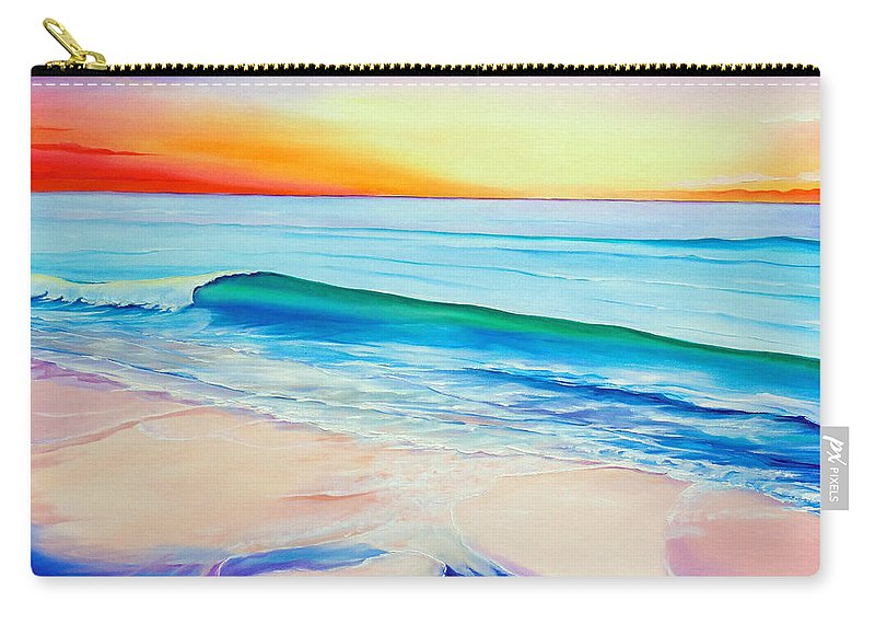 Sunset Painting Sea Painting Beach Painting Sunset Painting  Waves Painting Beach Painting Seaside Painting Seagulls Painting Carry-all Pouch featuring the painting At the end of a perfect day by Karin Dawn Kelshall- Best