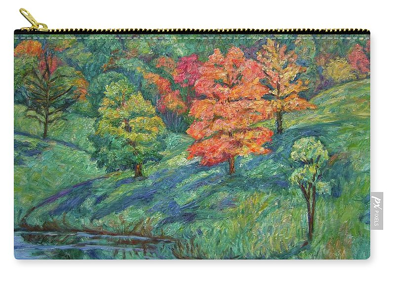 Landscape Carry-all Pouch featuring the painting Autumn Pond by Kendall Kessler