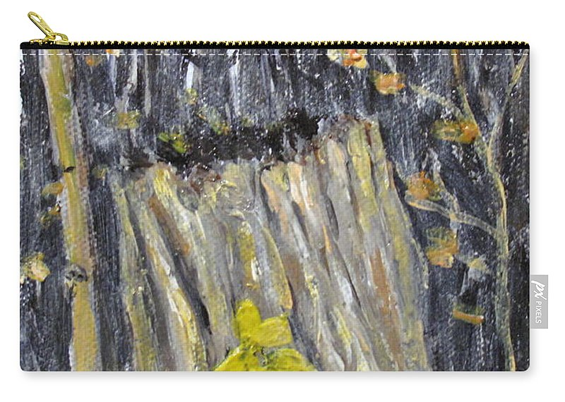 Stump Carry-all Pouch featuring the painting Autumn Stump by Ian MacDonald
