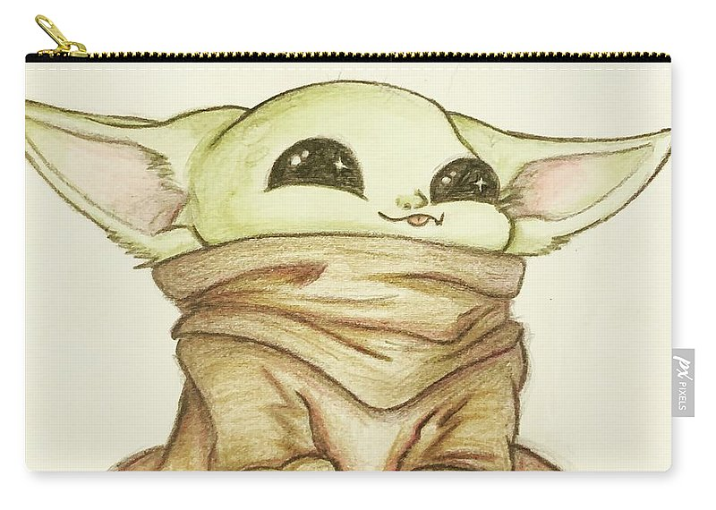 Baby Carry-all Pouch featuring the drawing Baby Yoda by Tejay Nichols