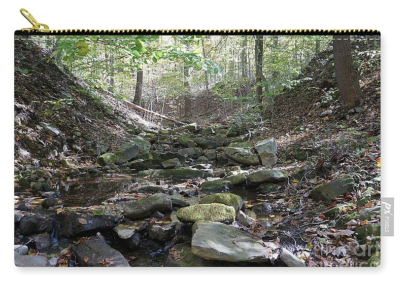 Fall Foliage Carry-all Pouch featuring the photograph Bark Rocks 6 by Chris Naggy