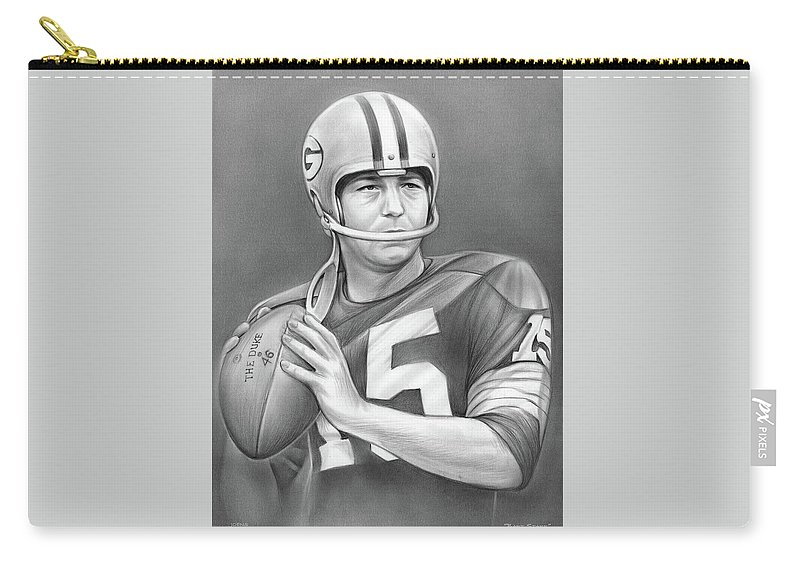Bart Starr Carry-all Pouch featuring the drawing Bart Starr - Pencil by Greg Joens