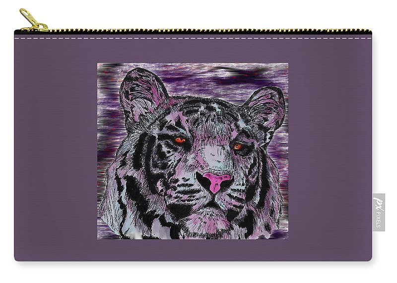 Tiger Carry-all Pouch featuring the digital art Bashful Reloaded by Crystal Hubbard