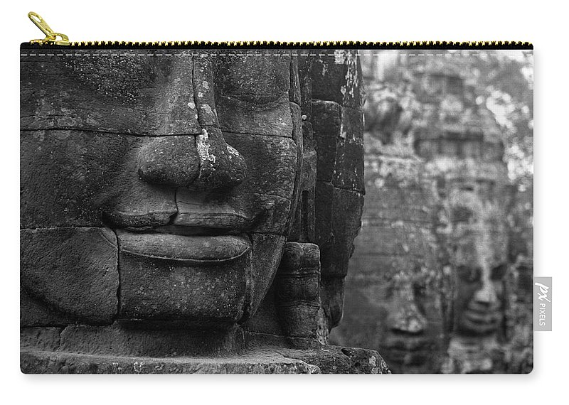 Bayon Carry-all Pouch featuring the photograph Bayon Temple - Angkor by Patrick Klauss