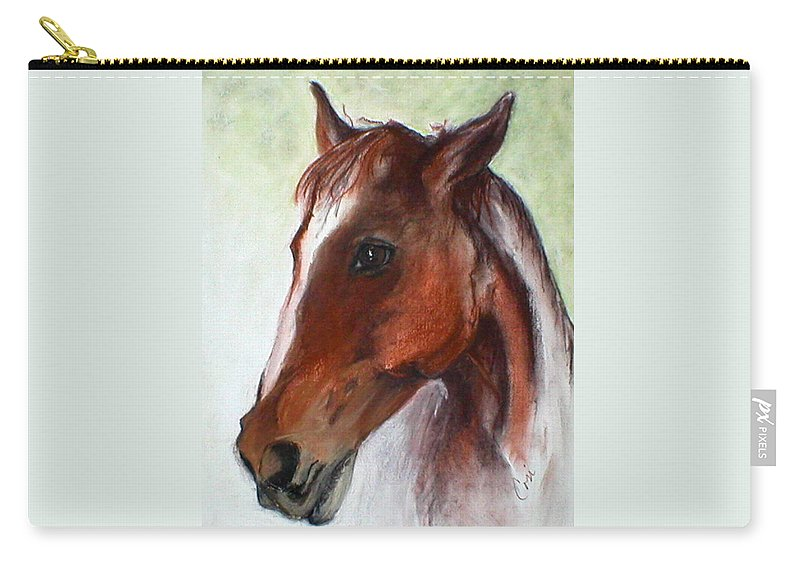Horse Carry-all Pouch featuring the drawing Becky by Cori Solomon