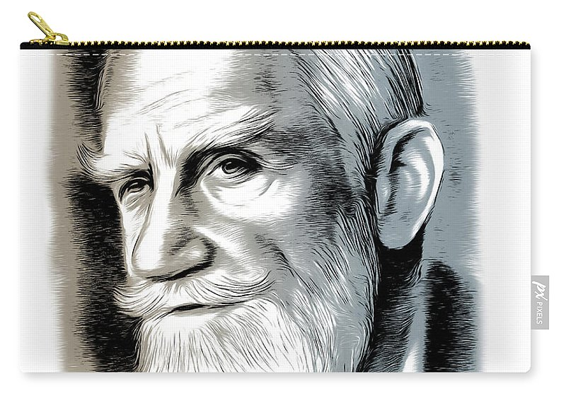 Bernard Shaw Carry-all Pouch featuring the mixed media Bernard Shaw - Mixed Media by Greg Joens
