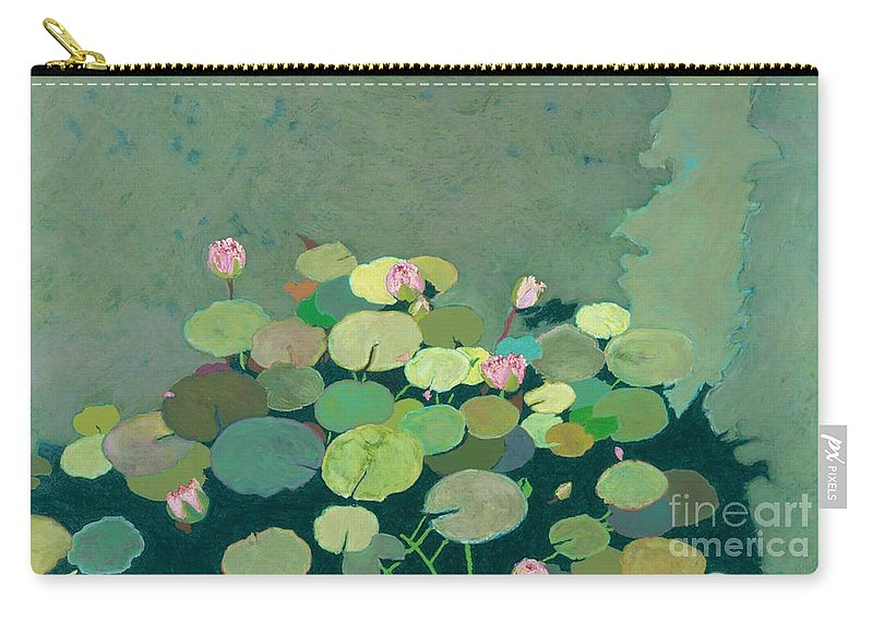 Landscape Carry-all Pouch featuring the painting Bettys Serenity Pond by Allan P Friedlander