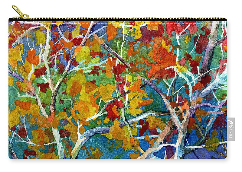 Trees Carry-all Pouch featuring the painting Beyond the Woods - Orange by Hailey E Herrera
