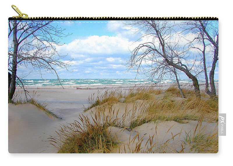Trees Carry-all Pouch featuring the photograph Big Waves on Lake Michigan by Michelle Calkins