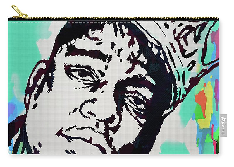 Biggie Smalls Colour Drawing Art Poster - Pop Art Carry-all Pouch featuring the mixed media Biggie Smalls - pop art poster 1 by Kim Wang