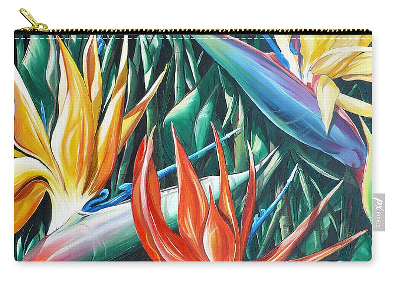 Caribbean Painting Bird Of Paradiseppainting Lily Painting Tropical Musa Painting  . Strelitzer Painting Caribbean Flora Paintingl Flower Red Yellow Painting Greeting Card Painting Carry-all Pouch featuring the painting Birds Of Paradise Sold  by Karin Dawn Kelshall- Best