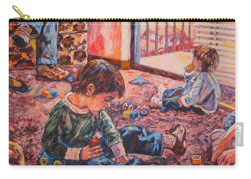 Figure Carry-all Pouch featuring the painting Birthday Party or a Childs View by Kendall Kessler