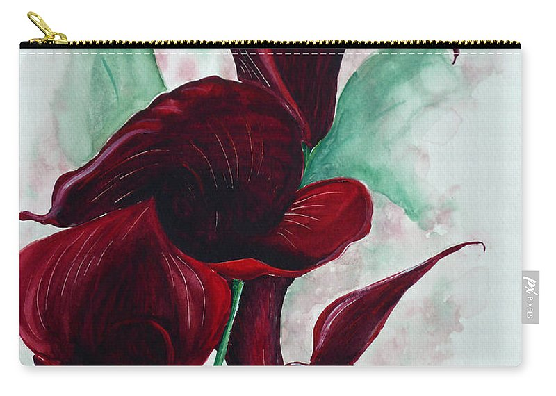 Flower Painting Floral Painting Botanical Painting Tropical Painting Caribbean Painting Calla Painting Red Lily Painting Deep Red Calla Lilies Original Watercolor Painting Carry-all Pouch featuring the painting Black Callas by Karin Dawn Kelshall- Best