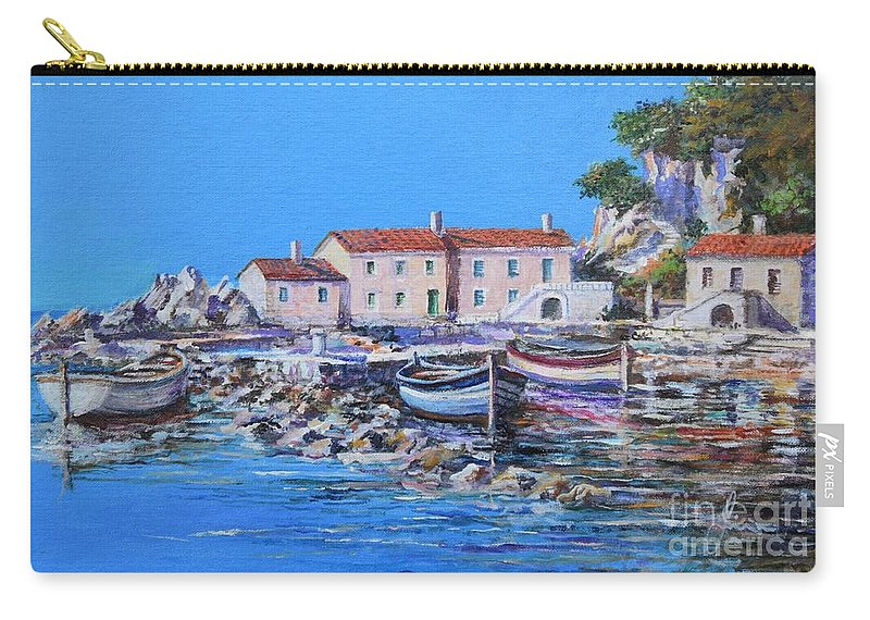 Original Painting Carry-all Pouch featuring the painting Blue Bay by Sinisa Saratlic