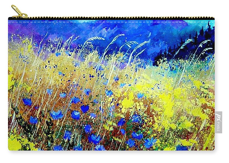 Poppies Carry-all Pouch featuring the painting Blue cornflowers 67 by Pol Ledent