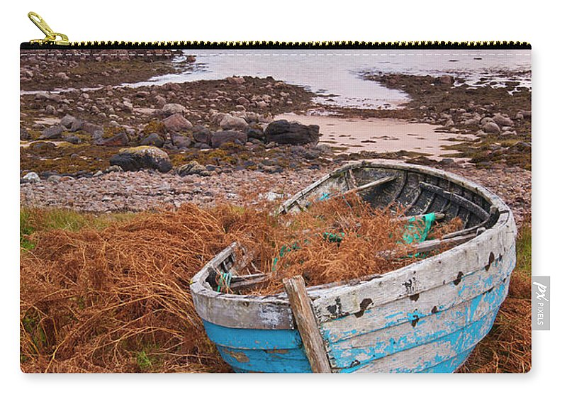 Scotland Carry-all Pouch featuring the photograph Blue Fishing Boat At Sunset, Inverasdale, Loch Ewe, Wester Ross, Scotland by Neale And Judith Clark