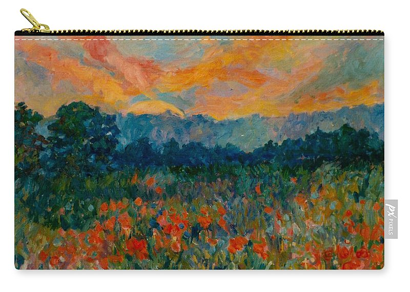 Landscape Carry-all Pouch featuring the painting Blue Ridge Sunset by Kendall Kessler