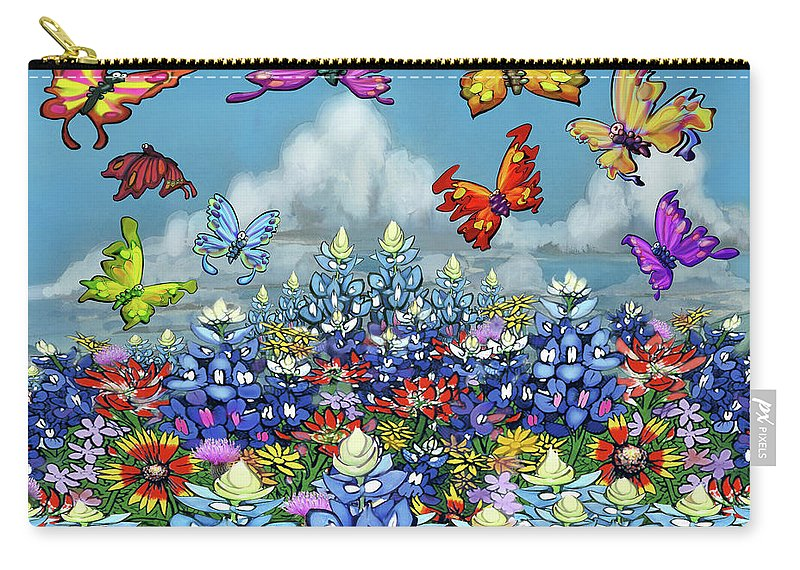 Bluebonnet Carry-all Pouch featuring the digital art Bluebonnets Wildflowers and Butterflies by Kevin Middleton