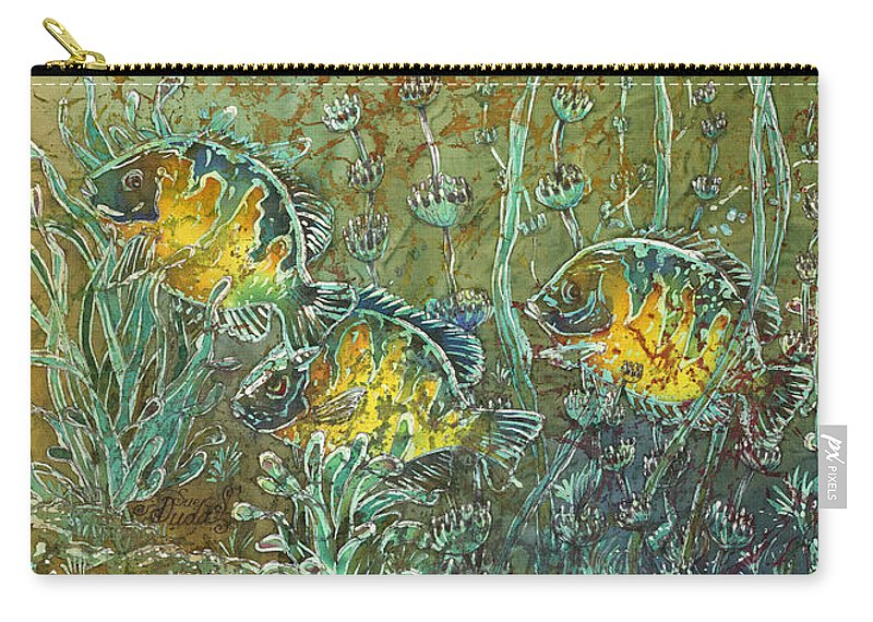 Bluegills Carry-all Pouch featuring the painting Bluegills Three by Sue Duda