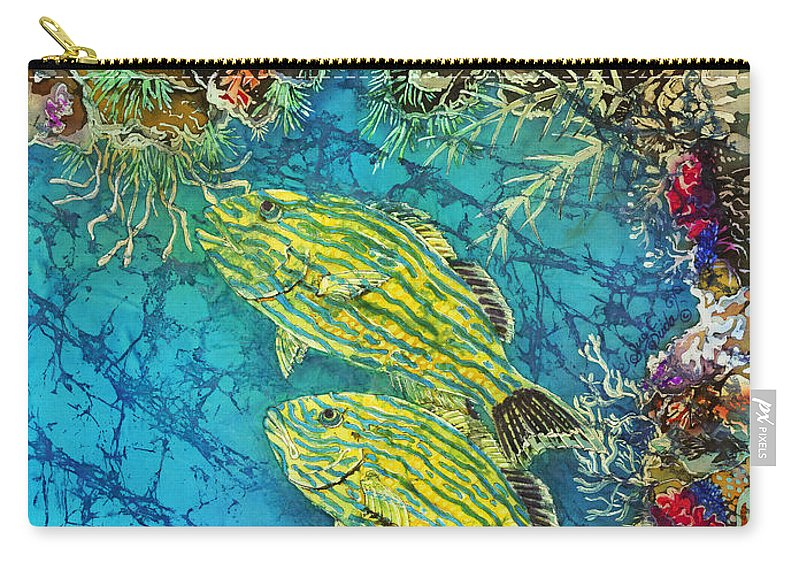 Ocean Carry-all Pouch featuring the painting Bluestriped Grunts Pair by Sue Duda