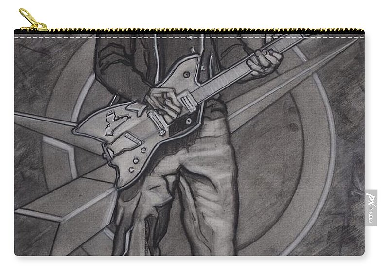 Texas Carry-all Pouch featuring the drawing Bo Diddley - Have Guitar Will Travel by Sean Connolly