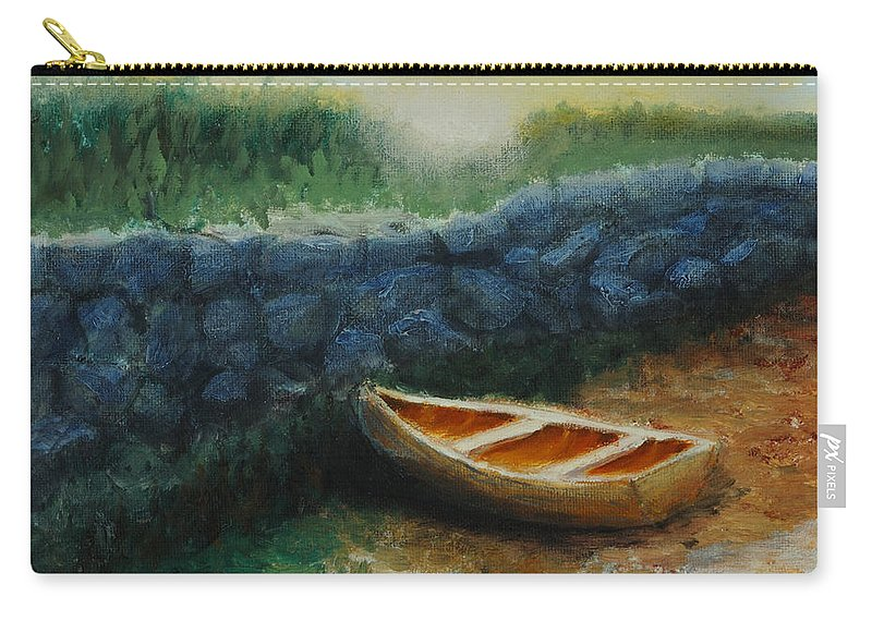 Row Boat Carry-all Pouch featuring the painting Boat by the Breakwall by Jerry McElroy
