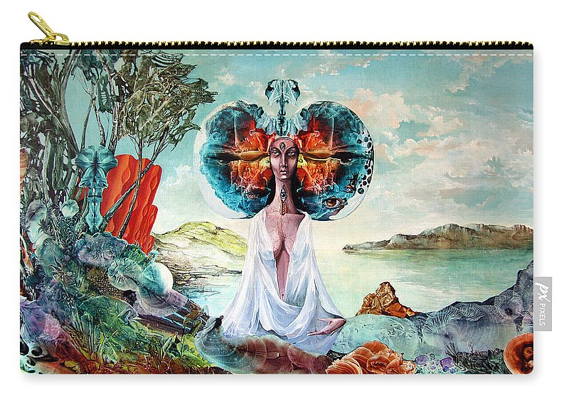 Surrealism Carry-all Pouch featuring the painting Bogomils Landing by Otto Rapp