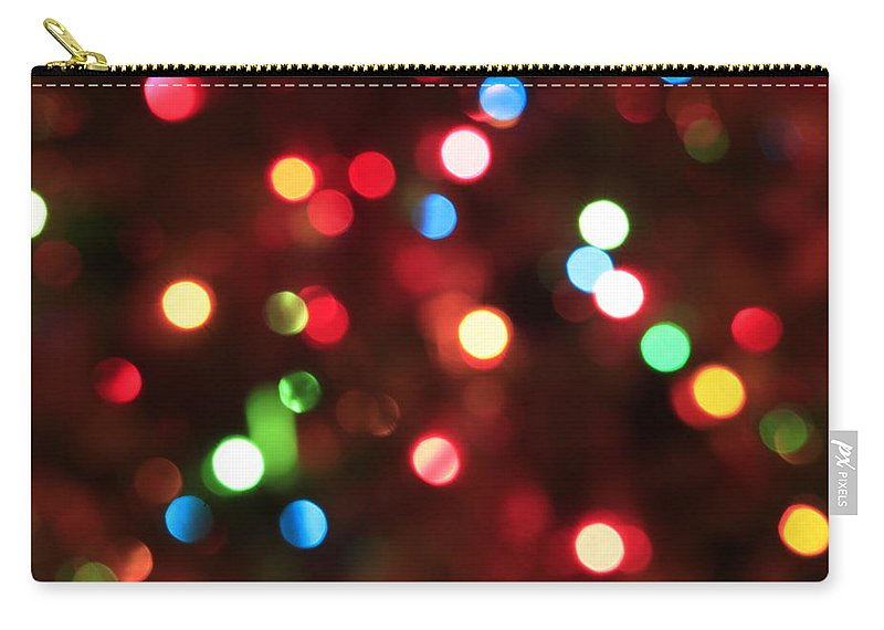 Bokeh Carry-all Pouch featuring the photograph Bokeh Colorful Lights - Christmas by Trevor Slauenwhite