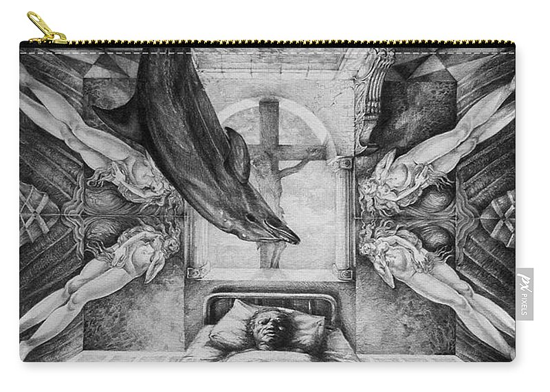 Surrealism Carry-all Pouch featuring the drawing Botticellis Dream by Otto Rapp