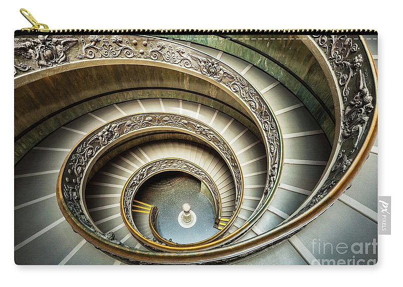 Bramante Staircase Carry-all Pouch featuring the photograph Bramante Spiral Staircase Vatican City by Neale And Judith Clark