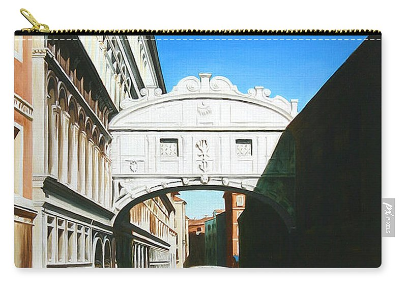 Bridge Of Sighs Carry-all Pouch featuring the painting Bridge Of Sighs Venice Italy by Gary Hernandez