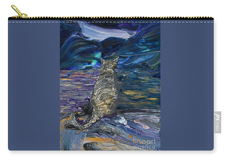Impressionist Cat Brindle Feline Kitty Carry-all Pouch featuring the painting Brindle Feline Gazing by Priscilla Batzell Expressionist Art Studio Gallery