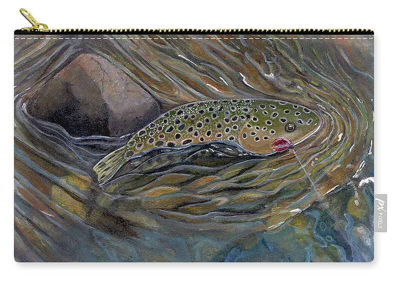 Rick Huotari Carry-all Pouch featuring the painting Brown II by Rick Huotari