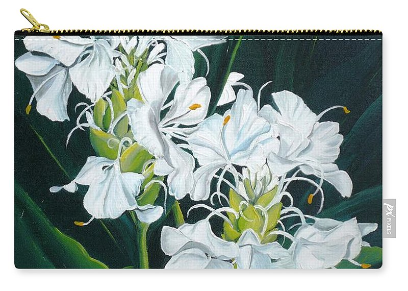 Caribbean Painting Butterfly Ginger Painting Floral Painting Botanical Painting Flower Painting Water Ginger Painting Or Water Ginger Tropical Lily Painting Original Oil Painting Trinidad And  Tobago Painting Tropical Painting Lily Painting White Flower Painting Carry-all Pouch featuring the painting Butterfly Ginger by Karin Dawn Kelshall- Best