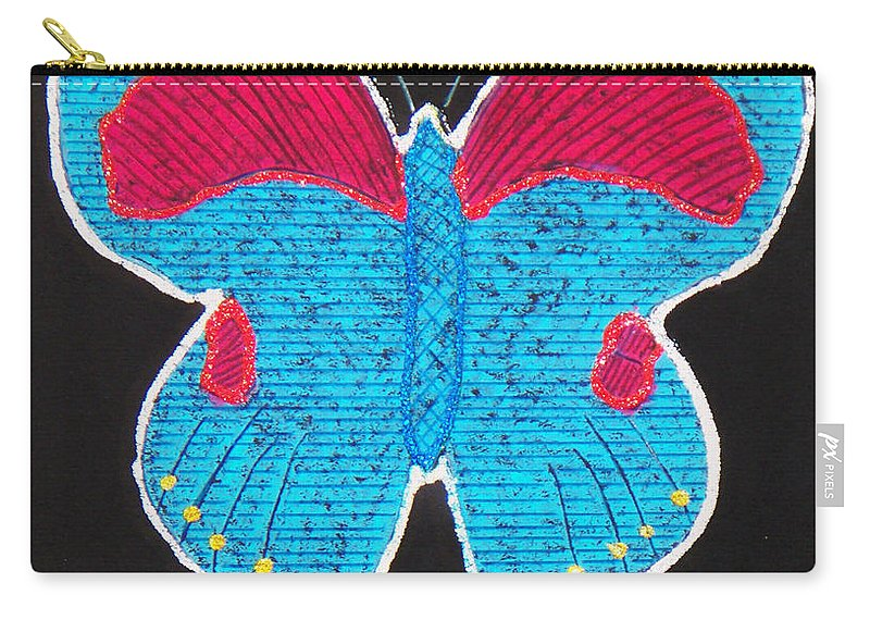 Drawing Carry-all Pouch featuring the mixed media Butterfly by Sergey Bezhinets