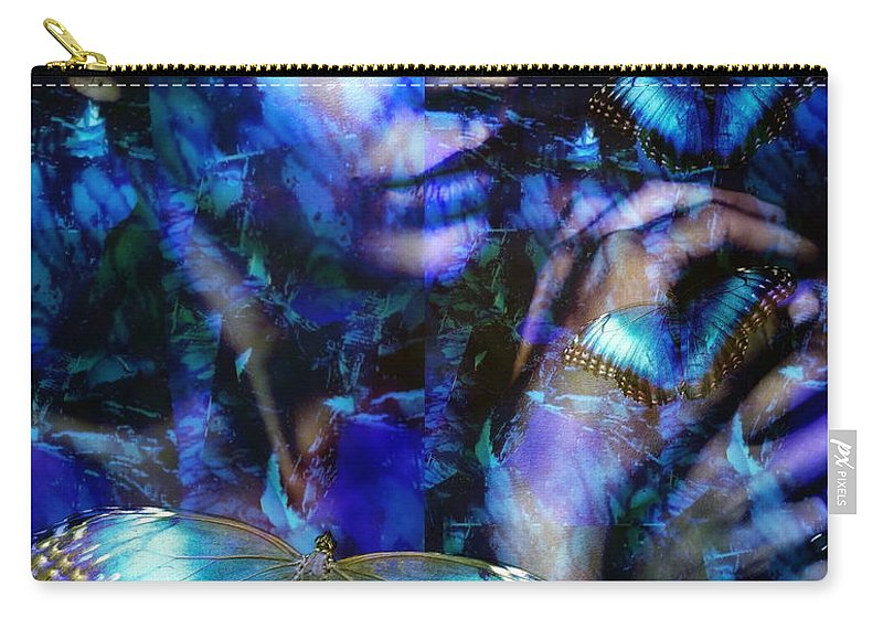 Surralism Carry-all Pouch featuring the digital art Butterfly woman by Gunilla Munro Gyllenspetz