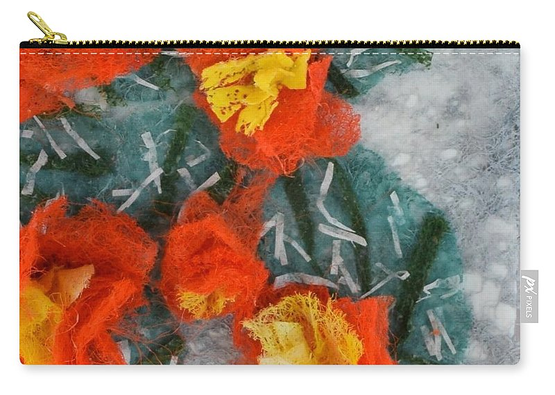 Dryer Sheets Carry-all Pouch featuring the mixed media Cactus Flowers by Charla Van Vlack