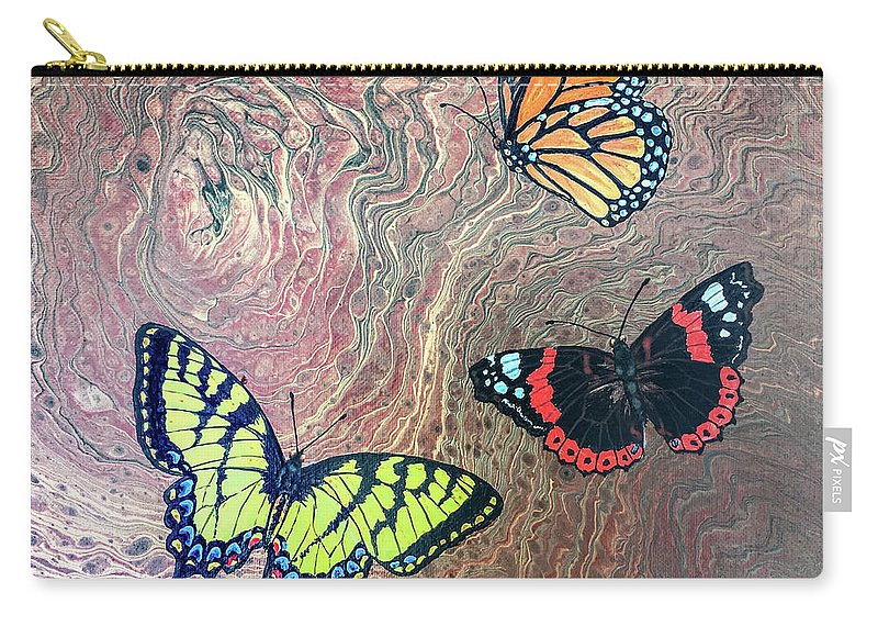 Butterflies Carry-all Pouch featuring the painting California Butterflies by Lucy Arnold