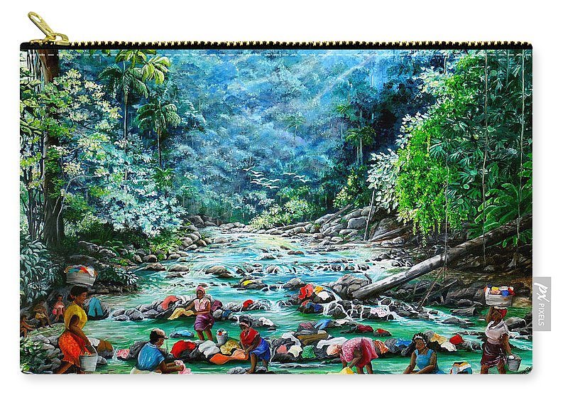 Land Scape Painting River Painting Mountain Painting Rain Forest Painting Washerwomen Painting Laundry Painting Caribbean Painting Tropical Painting Village Washer Women At A Mountain River In Trinidad And Tobago Carry-all Pouch featuring the painting Caribbean Wash Day by Karin Dawn Kelshall- Best