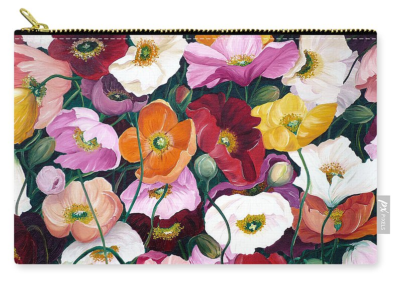 Flower Painting Floral Painting Poppy Painting Icelandic Poppies Painting Botanical Painting Original Oil Paintings Greeting Card Painting Carry-all Pouch featuring the painting Cascade Of Poppies by Karin Dawn Kelshall- Best
