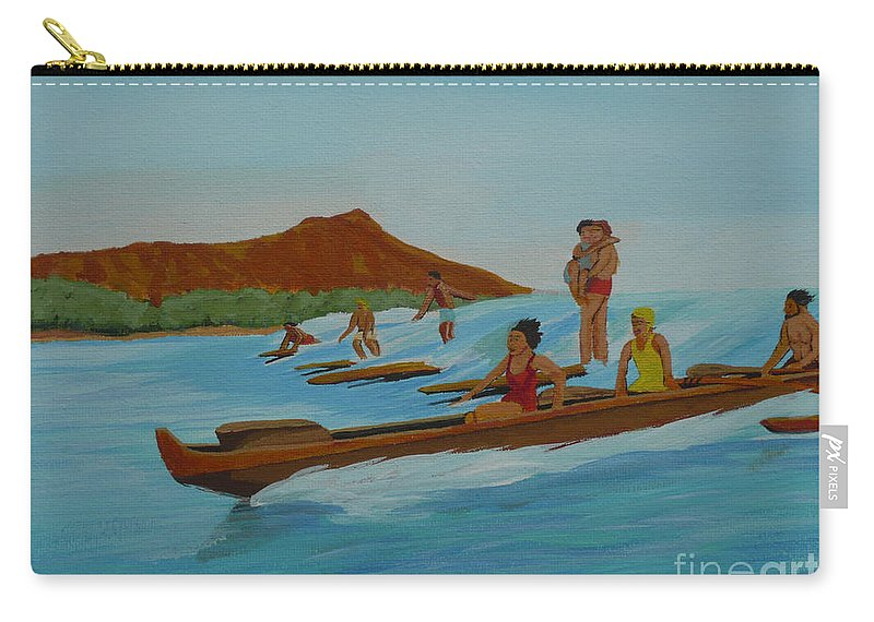 Hawaii Carry-all Pouch featuring the painting Catching a Waikiki Wave by Anthony Dunphy