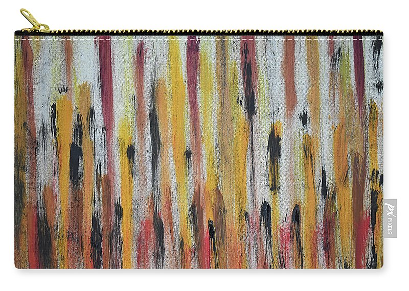 Red Carry-all Pouch featuring the painting Cattails at Sunset by Pam Roth O'Mara