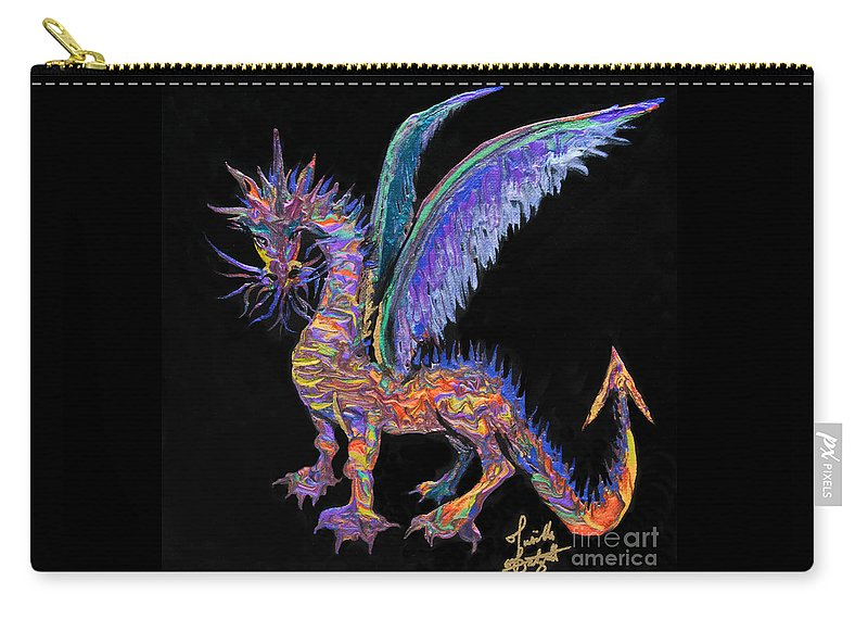 Dragon Winged Dragon Colorful Dragon Carry-all Pouch featuring the painting Celtic Dragon 7121 by Priscilla Batzell Expressionist Art Studio Gallery