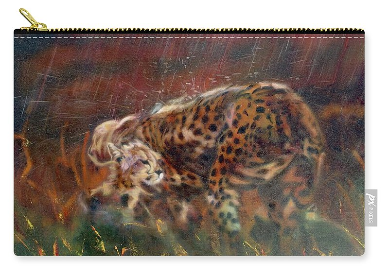 Oil Painting On Canvas Carry-all Pouch featuring the painting Cheetah Family After The Rains by Sean Connolly