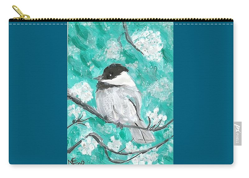 Chickadee Painting Carry-all Pouch featuring the painting Chickadee by Monica Resinger