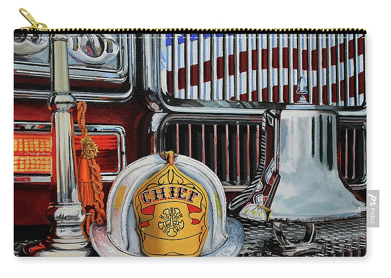 Fdny Carry-all Pouch featuring the painting Chief's Trumpet by Paul Walsh